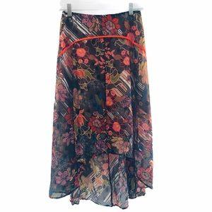 NWT Anthro Foxiedox Floral Hi Lo Midi Skirt